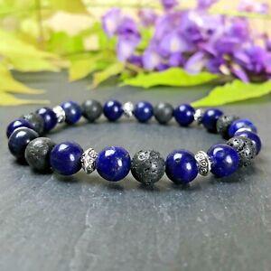 Bracelet-Homme-Femme-Perles-Naturelle-Lapis-Lazuli-Lave-Tibet-Taille-au-choix
