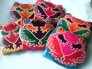 REAL-LEATHER-PURSES-WITH-FROG-MOTIF-IN-ASSORTED-COLOURS-6cm-x-8cm-3-95-each-NWT
