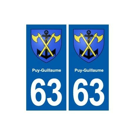 63 Puy-Guillaume blason autocollant plaque stickers ville arrondis