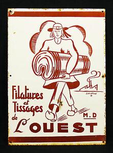 Bretagne-Filatures-et-tissage-de-l-039-ouest-Plaque-emaillee-J-DELATTRE-publicite