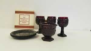 Vintage-Avon-Cape-Cod-1876-Ruby-Red-Glass-Collection-set-of-6-pieces