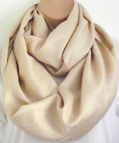 Luxury Silk 50/% /& Viscose Lrg Gold Paisley Circle Loop Infinity Scarf Snood