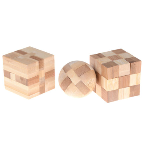 IQ Brain Teaser Kong Ming Lock Wooden Interlocking Burr 3D Puzzles Game Toy'Gift