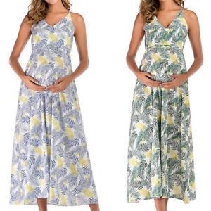 Women Maternity Maxi Sleeveless Dress Beach Floral V Neck Pregnant Long Sundress Ebay