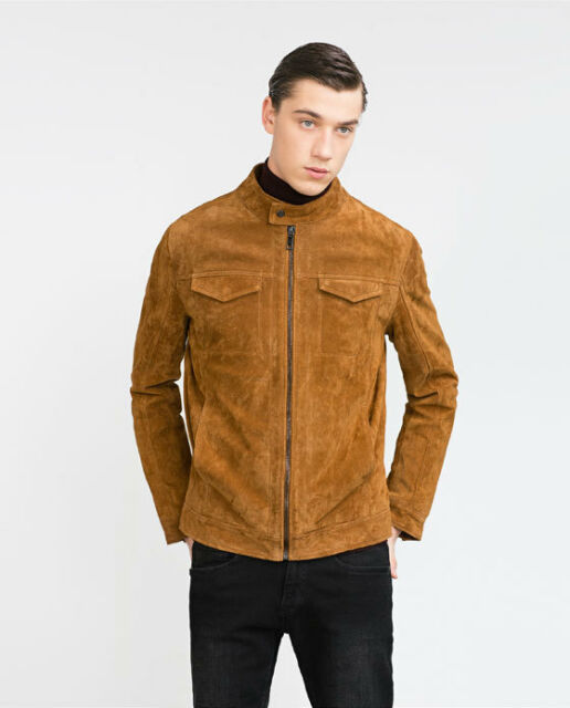 ZARA MAN REAL LEATHER DARK CAMEL SUEDE JACKET SMALL
