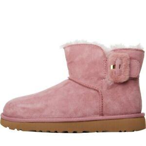 UGG-Australia-Womens-Mini-Bailey-Fluff-Buckle-Classic-Boots-Pink-5-UK-38-EU