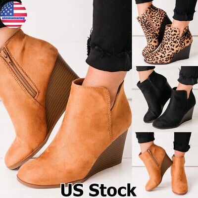 Womens Ladies Faux Leather Wedge Heel Chunky Platform Ankle Boots Shoes Size UK