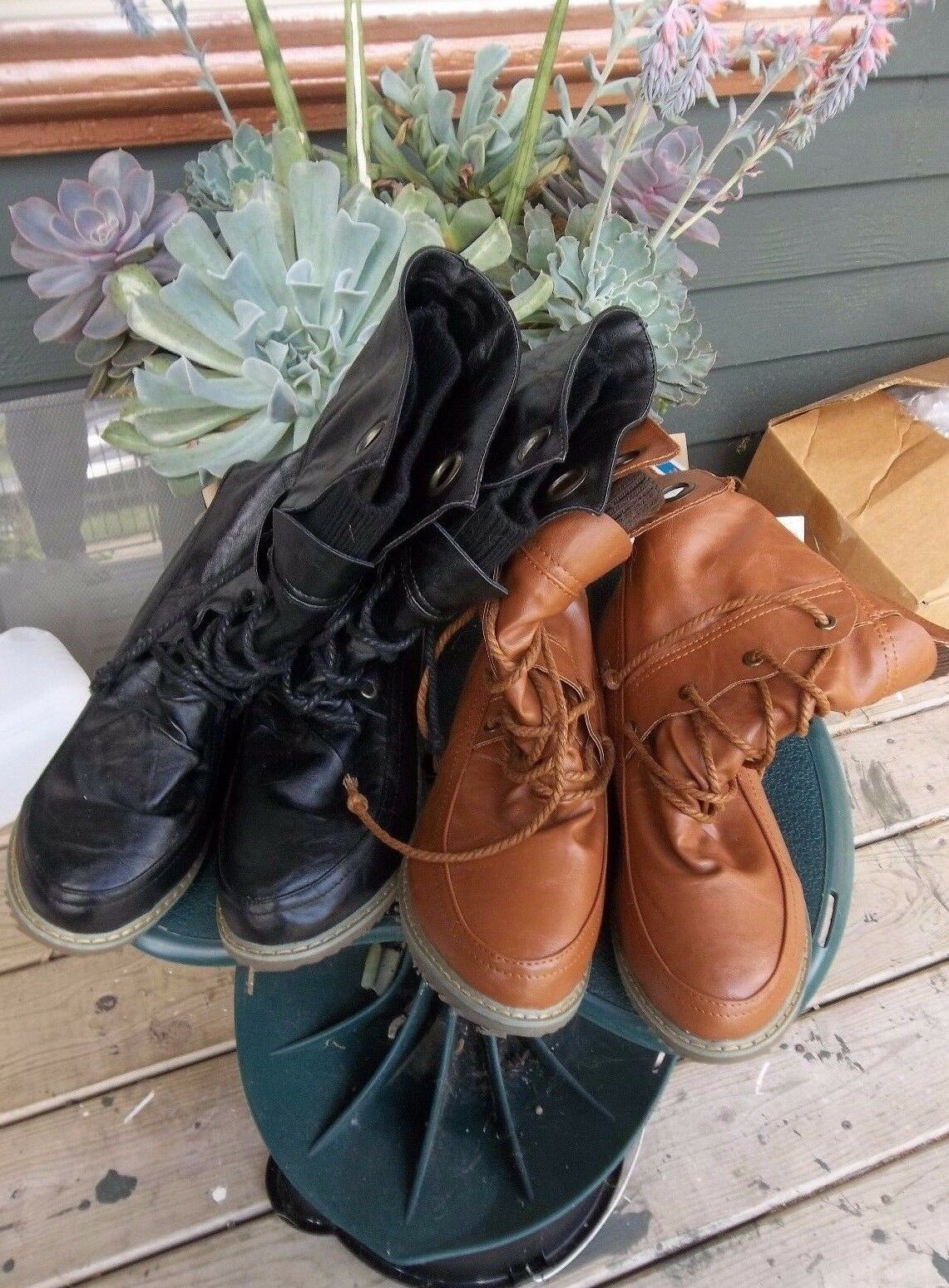 Ladies Black Faux Leather lace up boots Size 8 or Brown Faux Leather Lace Up Boo