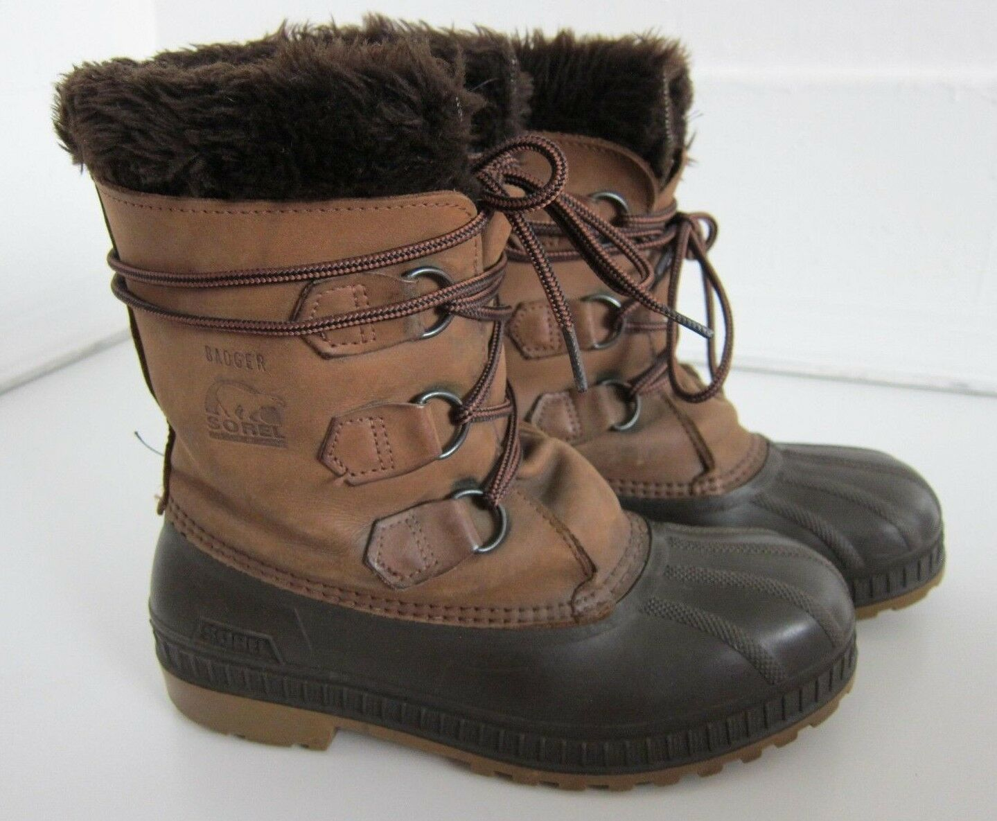 Vintage Sorel Badger Made In Canada Brown Leather Rubber Winter Snow Boot Size 8