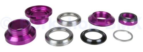 """Aluminum alloy old school BMX bicycle headset 1/"""" threaded 32.5mm cups PURPLE"""