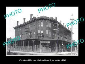 OLD-LARGE-HISTORIC-PHOTO-OF-CRESTLINE-OHIO-THE-RAILROAD-DEPOT-STATION-c1910