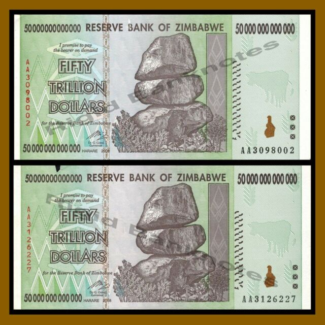 Zimbabwe 50 Trillion Dollars X 2 Pcs 2008 Aa Circulated 100 Series