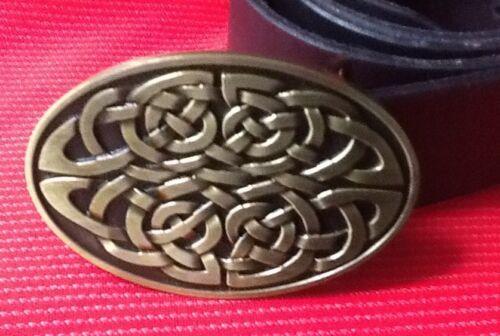 CELTIC KNOT IRISH CROSS GOTHIC GOLD BUCKLE LEATHER BELT