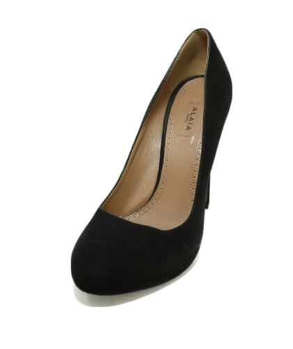 Azzedine Alaia BlackSuede Leather Heels Pumps Sz