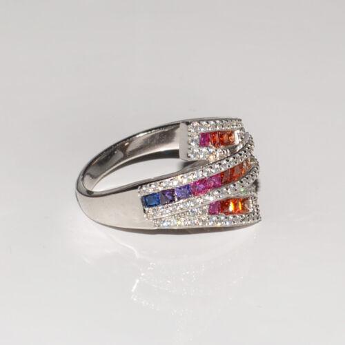Designring*Mehrfarbig Cubic Zirconia*Weißgold beschichtet*Verlobungsring*Ehering