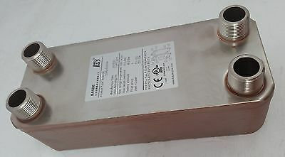 "NEW! 10 Plate Water to Water Plate Heat Exchanger 1"" MPT Ports"