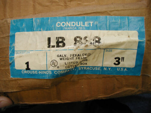 """Crouse Hinds LB 888 3/"""" Condulet"""