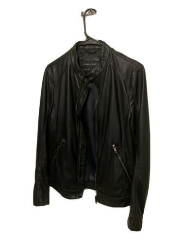 Zara Small Black Men's Leather Biker Jacket
