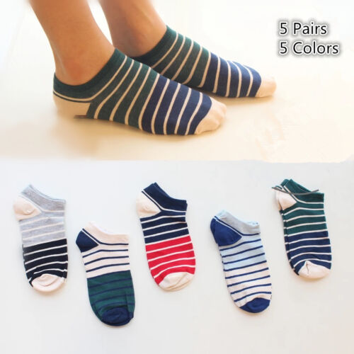 5 Pairs Lot Mens Cotton Loafer Boat Liner Invisible Ankle No Show Socks Low Cut