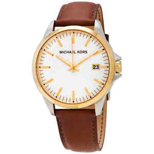 Michael Kors White Dial Men's Leather Watch MK7071