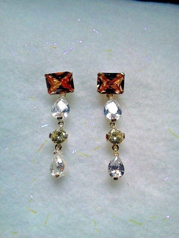 PRECIOSA BRAND Crystal CZ Drop Earrings in Apricot Topaz- 925 Sterling - Czech