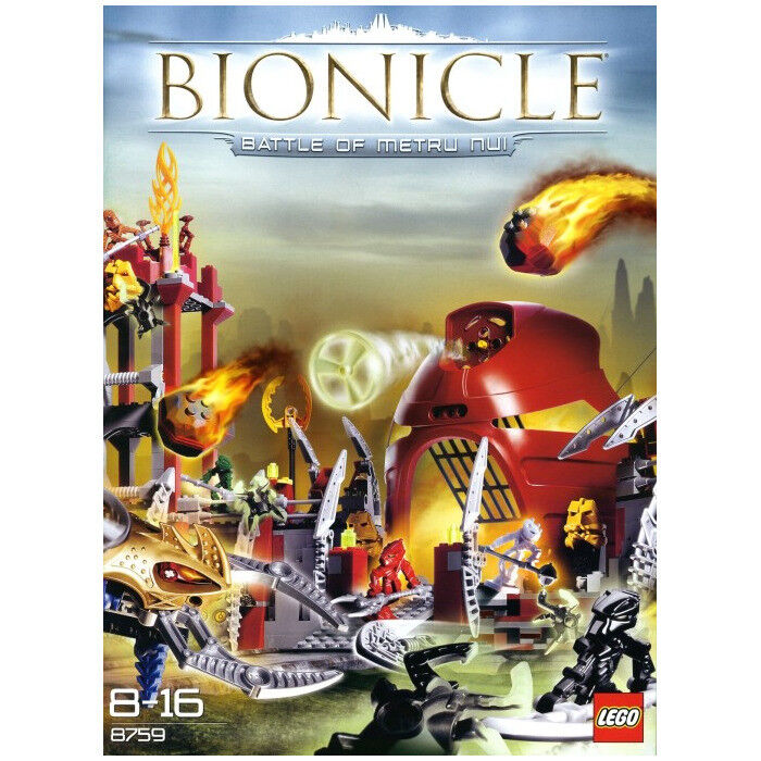 LEGO SET 8759 - BATTLE OF METRU NUI (BIONICLE), COMPLETE, WITH ALL 14 MINIFIGS