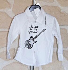 Chemise-manches-longues-blanche-et-noire-2-ans-marque-Interdit-De-Me-Gronder