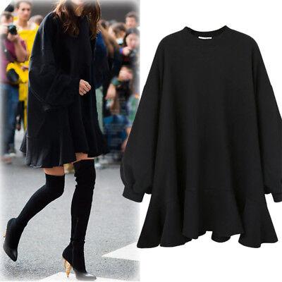 Women Oversize Hoodie Dress Sweatshirt Lady Autumn Winter Plus Size Scollop | eBay