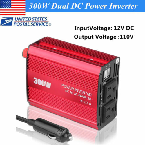 AC Outlet 300W Car Power Inverter DC 12V to AC 110V with 2x Charging USB Ports