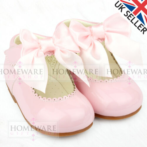 BABY GIRLS SPANISH STYLE PATENT BOW SHOES MARY JANE PINK WHITE IVORY UK3 TO UK10