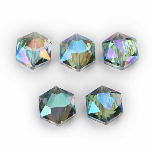 10 Hexagon Faceted Crystal Glass Necklace Earring Making Loose Spacer Beads 18mm