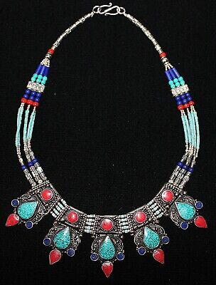 Handarbeit Nepal sehr schöne Halskette aus Tibetsilber Lapis /& Koralle