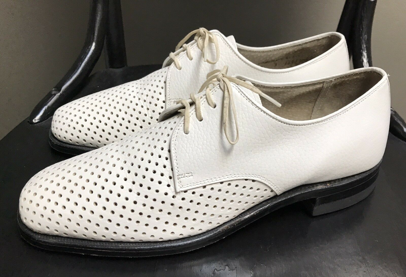 VTG Hanover Weiß Leather Oxford Dress schuhe Mens 9D 9D 9D M Perforated Derby Wedding 9dc2c0