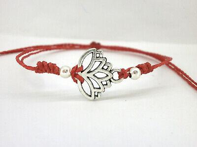 """SUERTE con hilo rojo encerado Pulsera /""""Abril/"""" cruz en plata tibetana"""