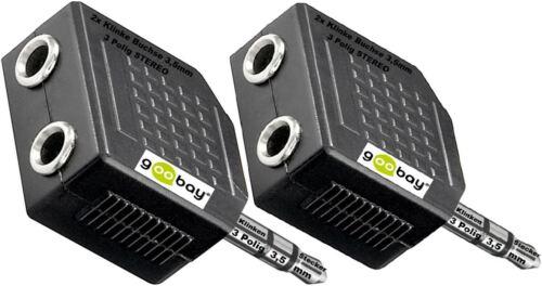2x Y Adapter Verteiler 3,5mm Klinke Stecker 2 x Klinken Kupplung Buchse STEREO