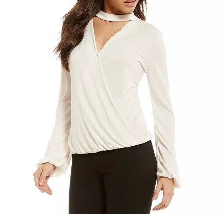 Gianni Bini Melinda Knit Choker Neck Top Large NWT