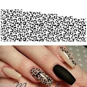 Nail-Art-Water-Decals-Stickers-Black-White-Animal-Leopard-Spots-Gel-Polish