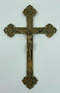 CHRIST EN BRONZE XIX EME NEO GOTHIQUE SUR CROIX H3082