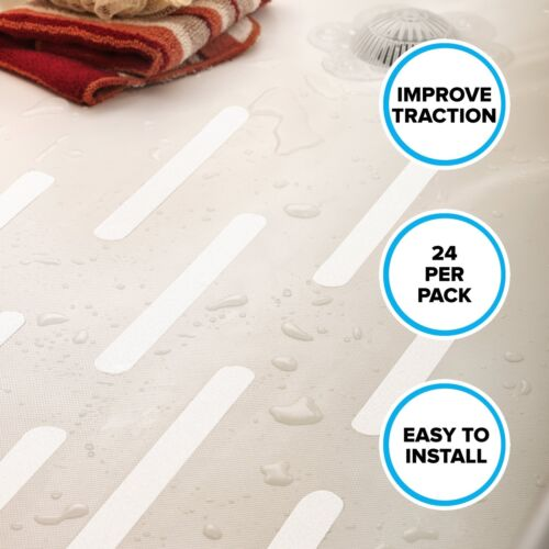 """7.5/"""" Non-Slip Adhesive Safety Treads Available in White or Clear 24 Per Pack"""