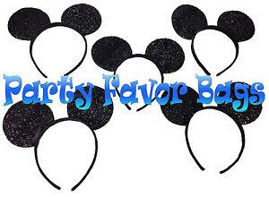 24 pcs Mickey Minnie Mouse Ears Headbands Black Shiny Party Favors Birthday Gift