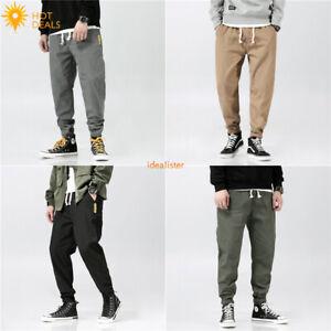 New-Men-039-s-Loose-Casual-Pantalon-Taille-Elastique-Harem-Taper-Fit-Stretch-Pantalon-De-Survetement
