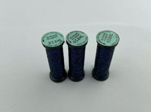 Lot Of 3 Kreinik 018HL Navy Blue High Lustre Blending Filament Thread Floss