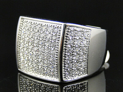 New Mens White Gold Finish Stainless Steel 50 Stone Micro Pave Lab Diamond Ring