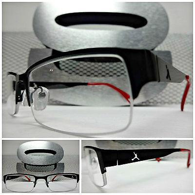 Men SLEEK CONTEMPORARY STYLE Clear Lens EYE GLASSES Half Matte Black & Red Frame