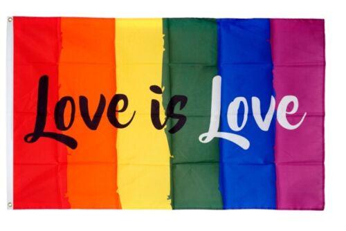 Fahne Regenbogen Love is Love Flagge LGBT Hissflagge 90x150cm