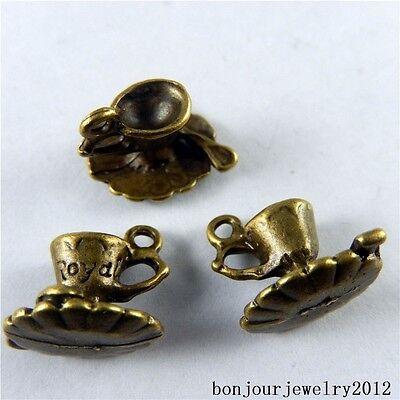 51042 Vintage Bronze Alloy Mini Tea Coffee Cups Decor Pendants Crafts Charms 29x