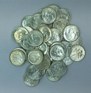 Lot-of-5-Different-Date-GEM-Uncirculated-BU-90-Silver-Roosevelt-Dimes