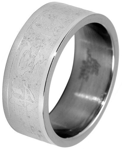 Caballeros acento anillo de acero inoxidable caracteres chinos talla 64-74 plata-caballeros anillo