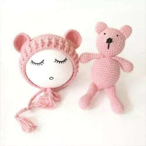 Newborn Baby Knitted Beanie Cap /& Teddy Bear Set