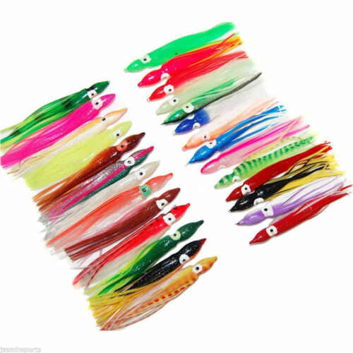 30ps Octopus Trolling Bait soft Hoochies Squid Skirt Soft Fishing Lure 2.4in//6cm
